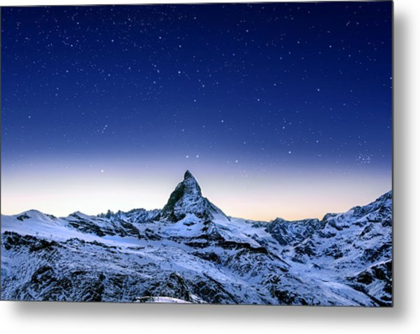Metal Print featuring the photograph Matterhorn Night by Nikos Stavrakas