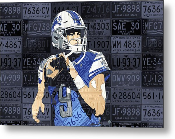 Matthew Stafford Detroit Lions Quarterback Recycled Michigan License Plates Art Portrait Metal Print
