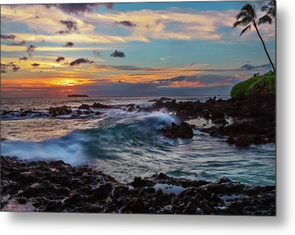 Maui Sunset At Secret Beach Metal Print