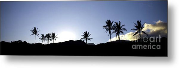 Maui Sunset Palm Tree Silhouettes Metal Print by Denis Dore