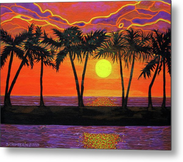 Maui Sunset Palm Trees Metal Print