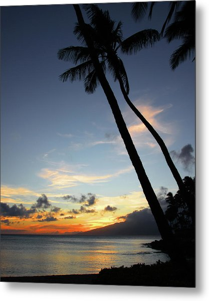 Maui Sunset With Palm Trees Metal Print