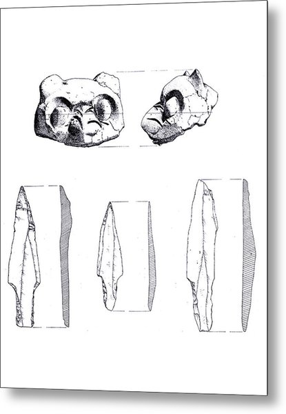 Maya Cat Head And Stone Tools Metal Print