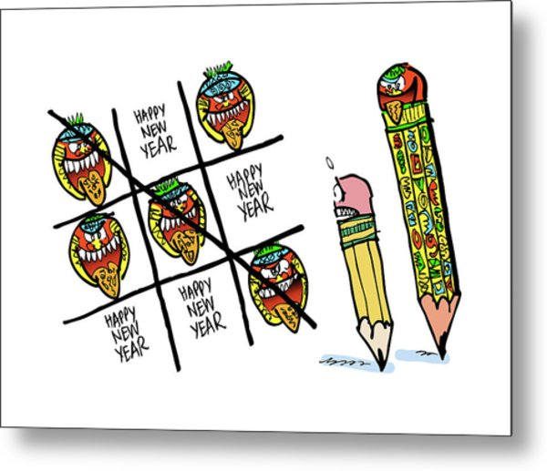 Metal Print featuring the digital art Mayan Tic Tac Toe by Mark Armstrong