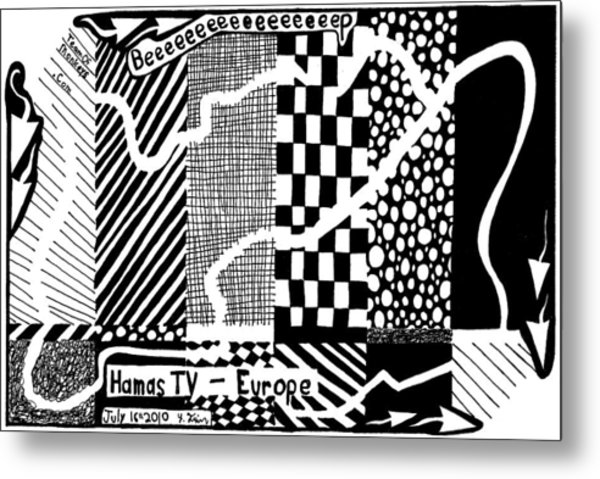Maze Cartoon Of Color Test Screen For Hamas Tv Europe Metal Print by Yonatan Frimer Maze Artist