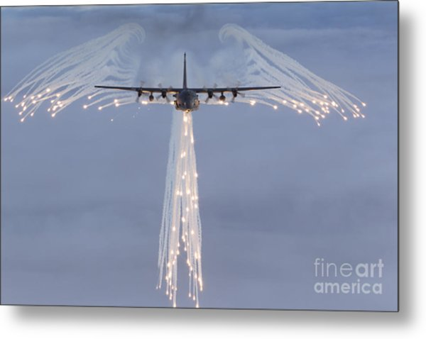 Mc-130h Combat Talon Dropping Flares Metal Print