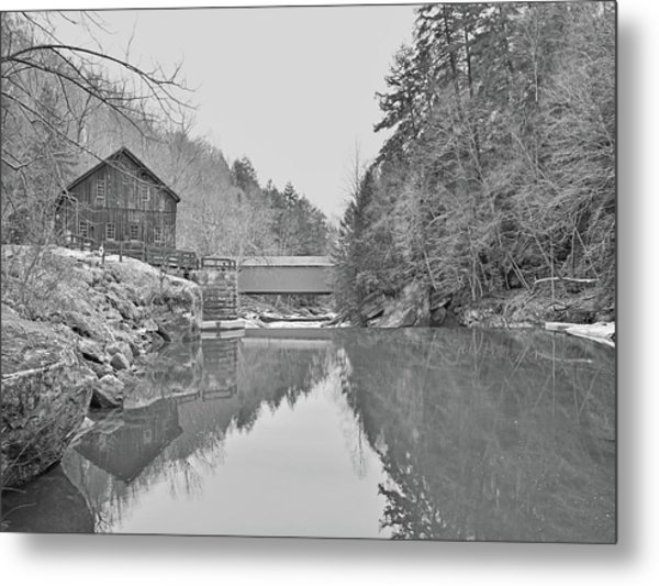 Metal Print featuring the photograph Mcconnells Mill In Late March by Digital Photographic Arts