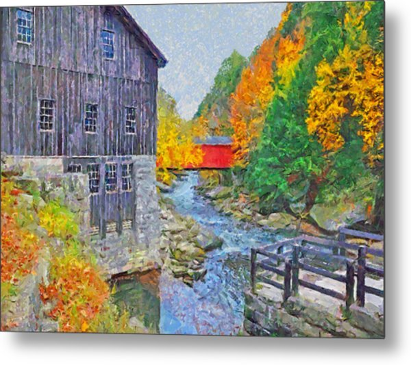 Metal Print featuring the digital art Mcconnells Mill State Park  by Digital Photographic Arts