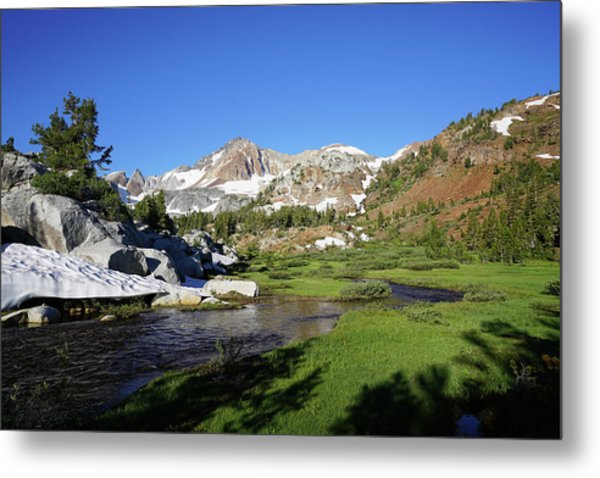 Mcgee Creek Below Red And White Mountain Metal Print by Dale Matson