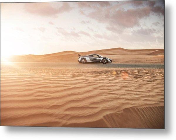 Mclaren P1 In Dubai Desert Metal Print