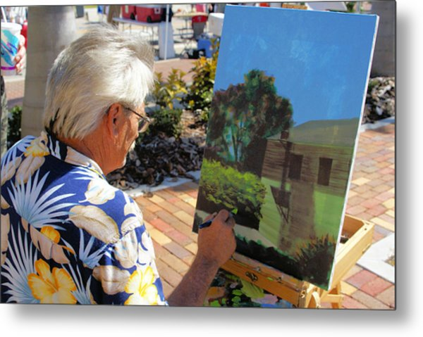 Me At Work Painting The Building With My Studio In It Metal Print by Charles Peck