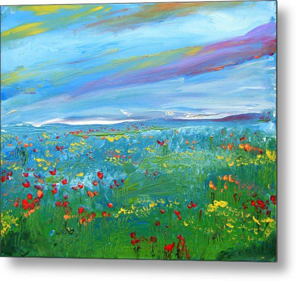 Meadow Drops By Colleen Ranney Metal Print