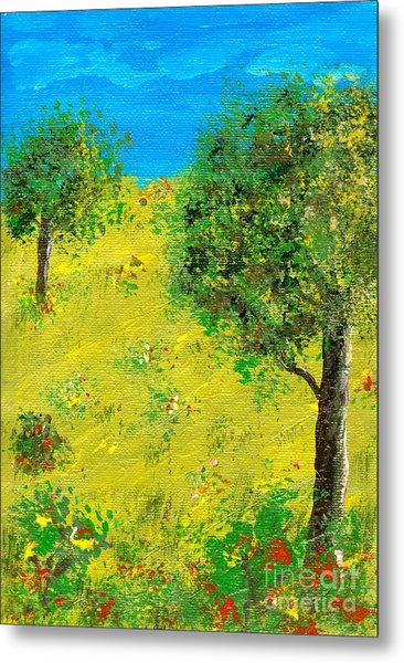 Meadow With Trees Metal Print by Sascha Meyer