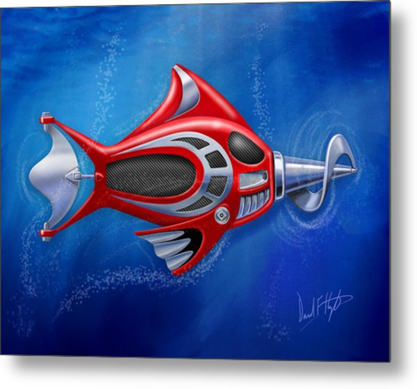 Mechanical Fish 1 Screwy Metal Print by David Kyte