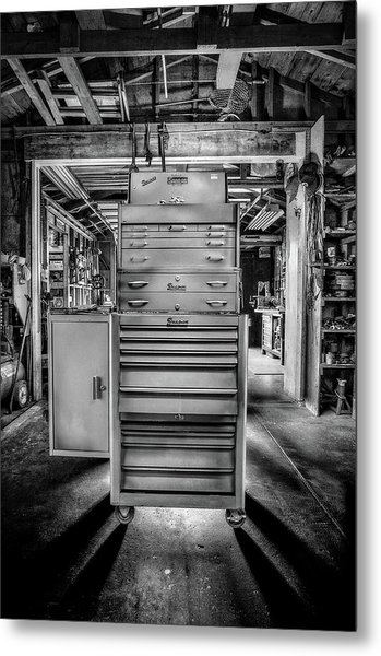 Mechanics Toolbox Cabinet Stack In Garage Shop In Bw Metal Print