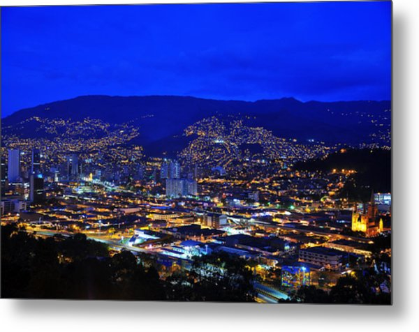 Medellin Colombia At Night Metal Print