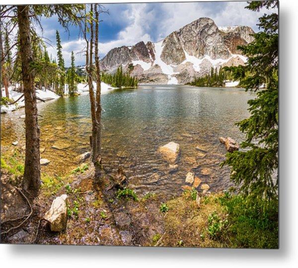 Medicine Bow Snowy Mountain Range Lake View Metal Print