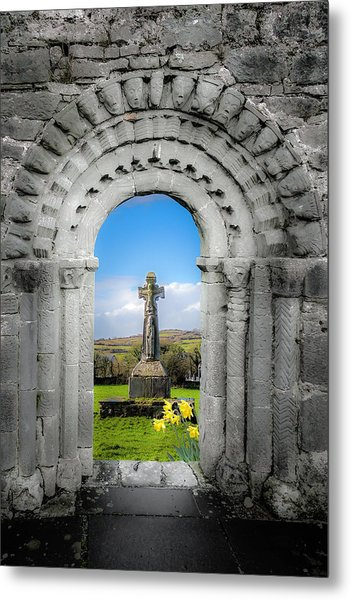 Medieval Arch And High Cross, County Clare, Ireland Metal Print