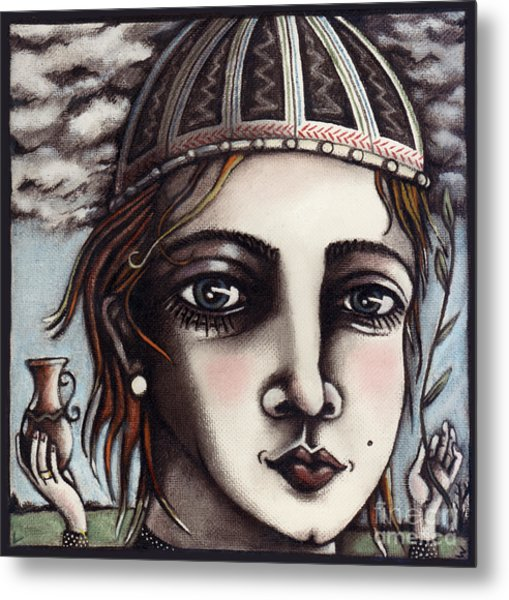 Metal Print featuring the painting Medieval Herbalist by Valerie White