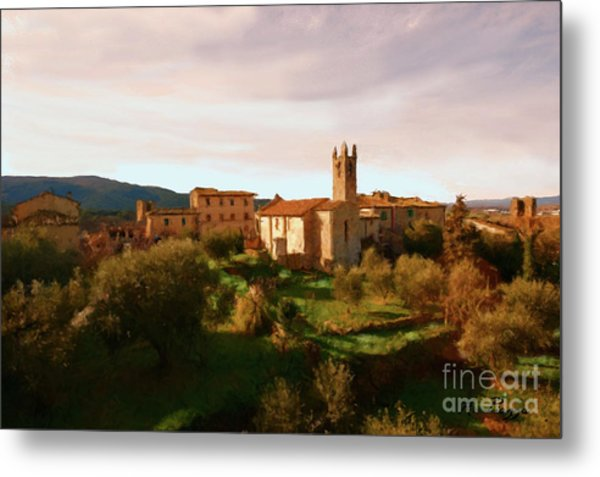 Metal Print featuring the painting Medieval Tuscany by Rosario Piazza