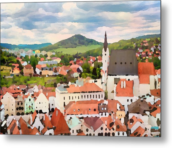 Metal Print featuring the digital art Medieval Village  by Shelli Fitzpatrick