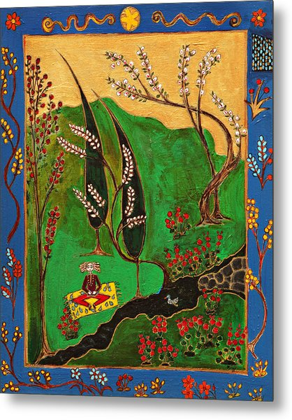 Meditating Master By Stream With Yellow Rug Metal Print by Maggis Art