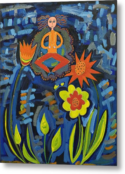 Meditating Master In Moonlit Garden Metal Print by Maggis Art