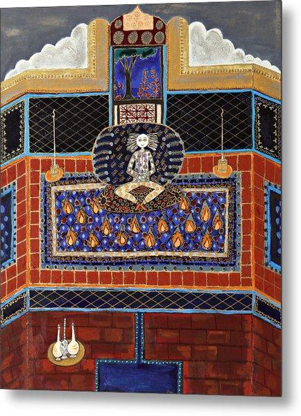 Meditating Master In Tiled Courtyard Metal Print by Maggis Art