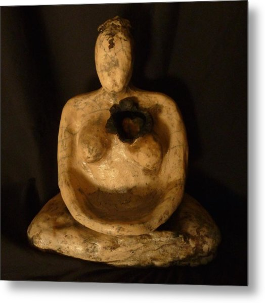 Meditative Woman Open Heart Metal Print