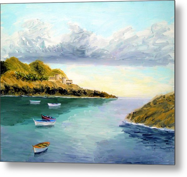 Mediterranean Bay Metal Print by Larry Cirigliano