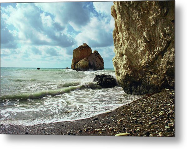 Mediterranean Sea, Pebbles, Large Stones, Sea Foam - The Legendary Birthplace Of Aphrodite Metal Print