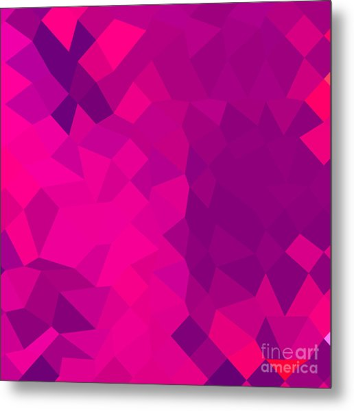 Medium Violet Red Abstract Low Polygon Background Metal Print by Aloysius Patrimonio