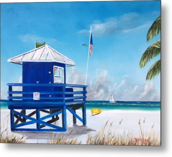 Meet At Blue Lifeguard Metal Print