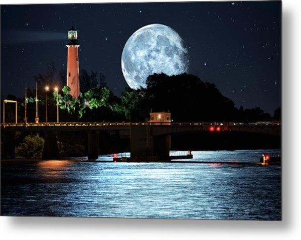 Mega Super Moon Rising Over Jupiter Lighthouse Metal Print