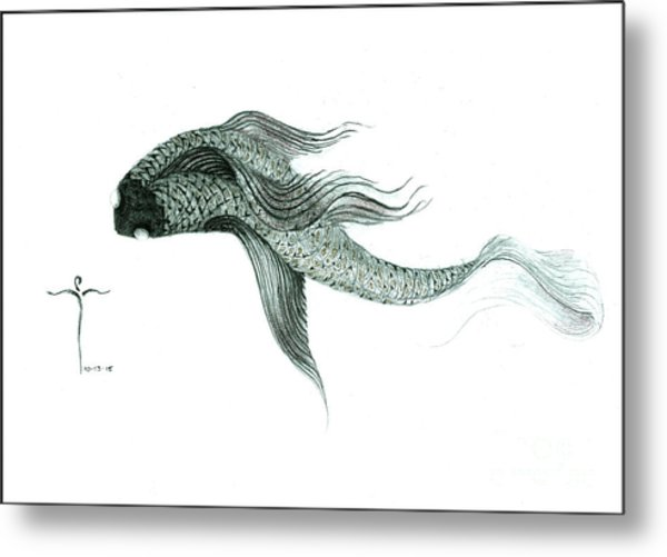 Metal Print featuring the drawing Megic Fish 1 by James Lanigan Thompson MFA