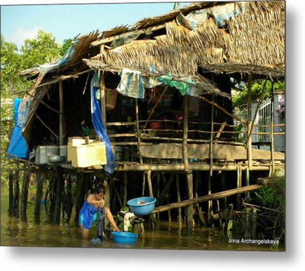 Mekong River Chores Metal Print