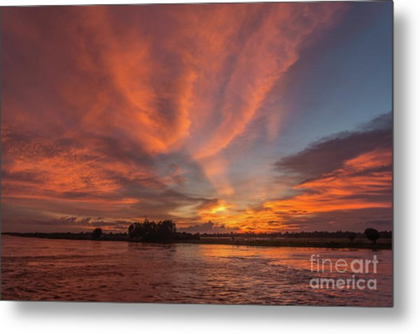 Mekong Sunset 3 Metal Print