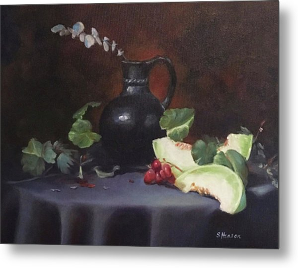 Melon And Vase Metal Print