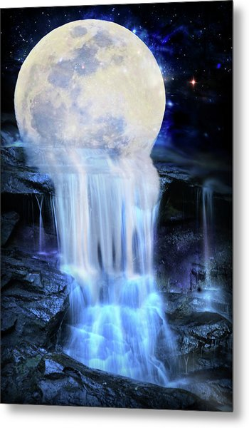 Melted Moon Metal Print