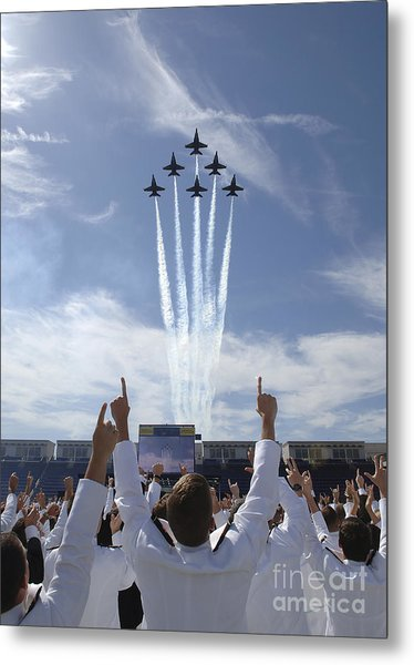 Metal Print featuring the photograph Members Of The U.s. Naval Academy Cheer by Stocktrek Images