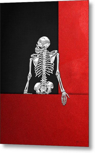 Memento Mori - Skeleton On Red And Black  Metal Print