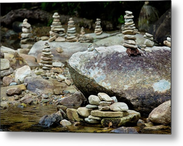 Memorial Stacked Stones Metal Print