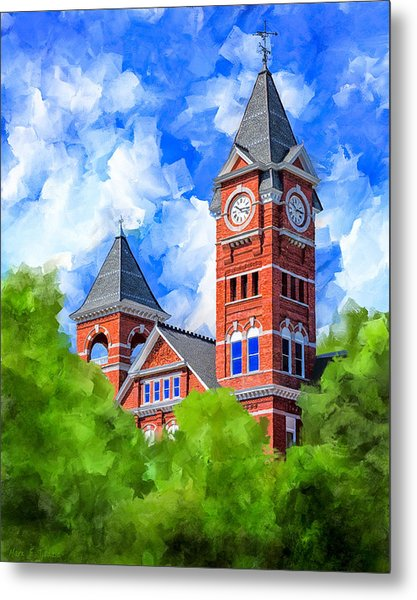 Metal Print featuring the mixed media Memories Of Auburn - Samford Hall by Mark Tisdale