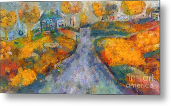Metal Print featuring the painting Memories Of Home In Autumn by Claire Bull