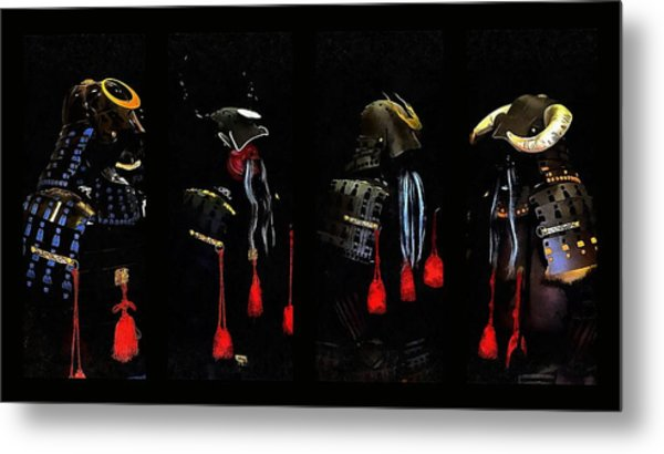 Memories Of Samurai Black Armour Collage Metal Print by Dorothy Berry-Lound