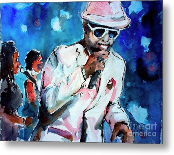 Metal Print featuring the painting Memphis Music Legend William Bell On Stage 1 by Ginette Callaway