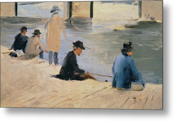 Men Fishing From A Jetty Metal Print