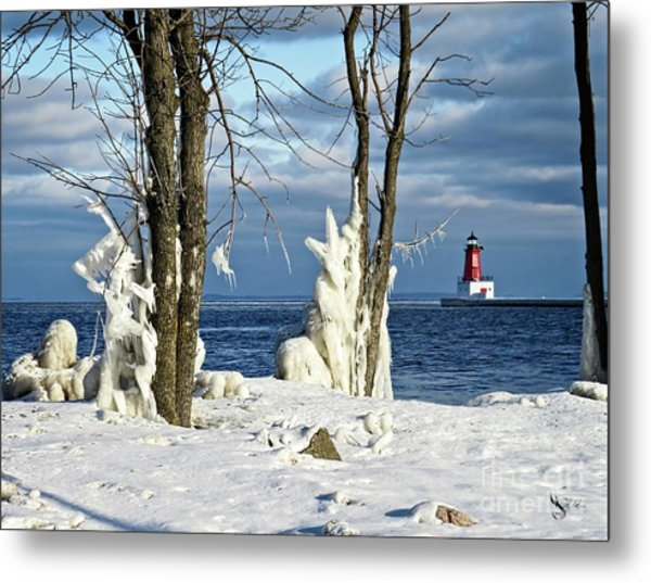Menominee Lighthouse Ice Sculptures Metal Print