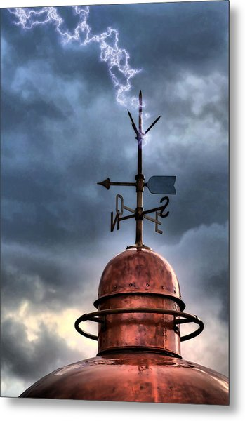 Menorca Copper Lighthouse Dome With Lightning Rod Under A Bluish And Stormy Sky And Lightning Effect Metal Print