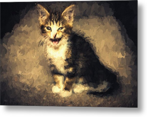 Meow Kitten Painterly Metal Print
